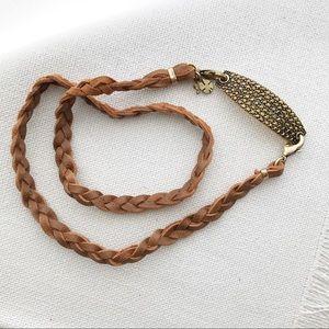 New LUCKY BRAND Pave & Leather Gold Wrap Bracelet